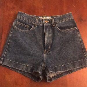 American Apparel dark wash denim shorts cuffed